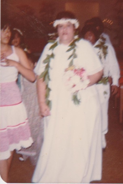 My mom Aloha got married to my stepfather, Celes, in a Hawaiian-style ceremony.